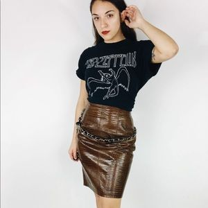80s Escada Brown Leather Skirt